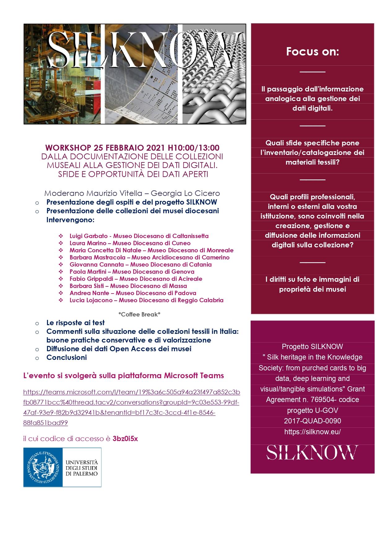SilkNow Workshop 25 feb 2021